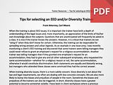 Tips for Selecting an EEO and Diversity Trainer