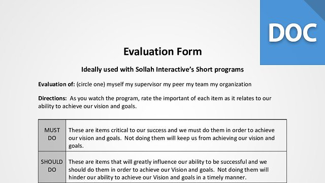 Training Evaluation and Assessment Forms