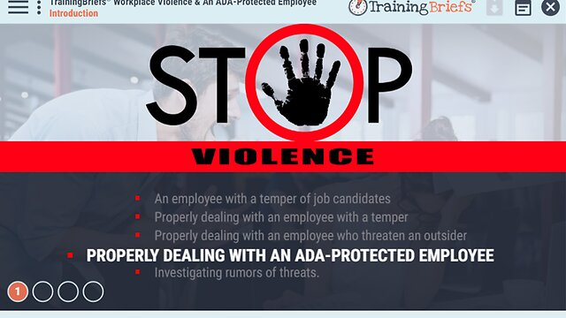 TrainingBriefs™ Workplace Violence & An ADA-Protected Employee
