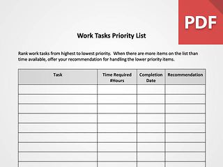 Work Tasks Priority List